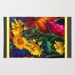 Sunflowers & fruit Fall Still Life Painting Rug
