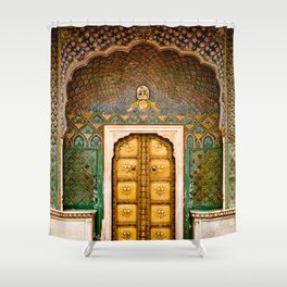 Rose gate door in pink city at City Palace of Jaipur, India Shower Curtain