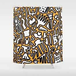 black doodle on orange Shower Curtain