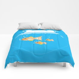 Three Goldfishes In a Water Bowl Comforters