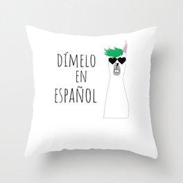 Spanish Teacher Gift Dímelo en Español with Funny Llama Throw Pillow