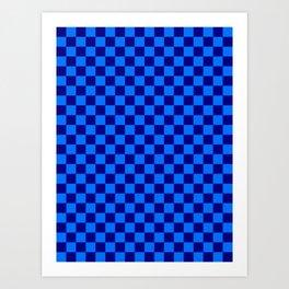 Brandeis Blue and Navy Blue Checkerboard Art Print