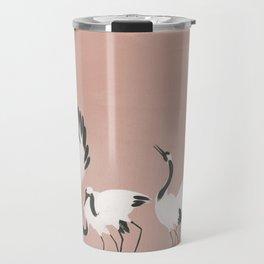 Crane Dance - Mauve Pink Travel Mug