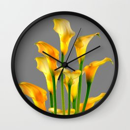 DECORATIVE GOLDEN CALLA LILY FLOWERS ON GREY ART Wall Clock