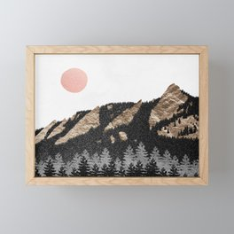 Flatirons Boulder Colorado - Climbing Gold Mountains Framed Mini Art Print