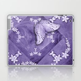 Flowers and butterfly with swirling fractal Laptop & iPad Skin