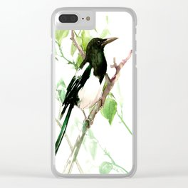 Magpie Bird on the Tree Clear iPhone Case