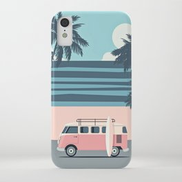 Surfer Graphic Beach Palm-Tree Camper-Van Art iPhone Case