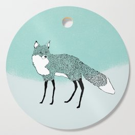 Fox in the snow – Animal Illustration – Kitsune in snow scene – vintage colors – antiqued colors Cutting Board