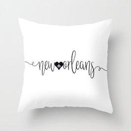 Black New Orleans Script Typography Letters and Fleur de Lis Heart Throw Pillow