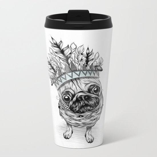 Indian Pug  Metal Travel Mug