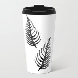 Black Watercolor Leaf Travel Mug