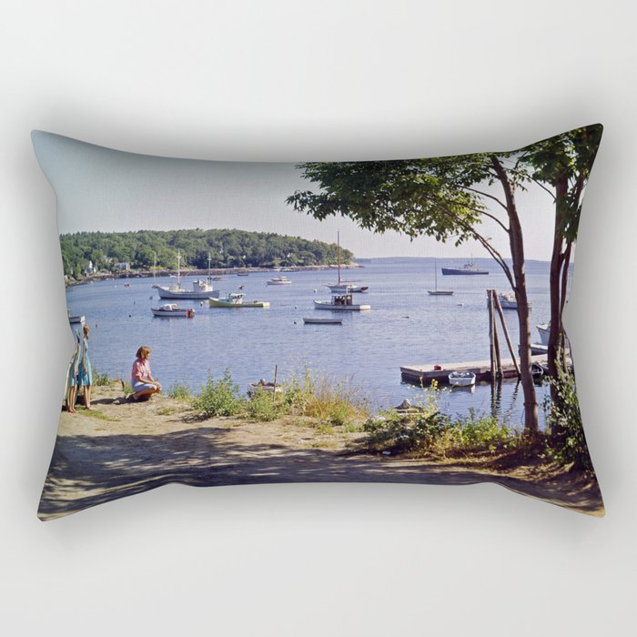 Marion Village in Rockport - Camden, Maine in the early 1960's, Retro Harbor Rectangular Pillow