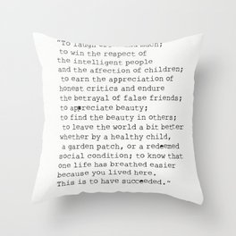 """To laugh often and much;"" Ralph Waldo Emerson quote Throw Pillow"