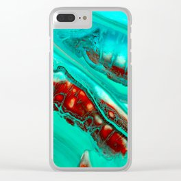 Turquoise abstract Clear iPhone Case