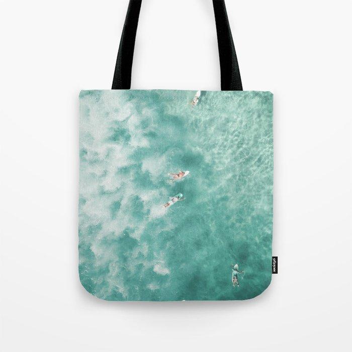 Surfing in the Ocean Tote Bag