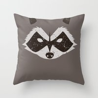rocket raccoon Throw Pillows featuring Rocket Raccoon - Log Trap by d00d it's jake