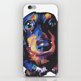 Dachshund Dog bright colorful Doxie Portrait Pop Art Painting by LEA iPhone Skin