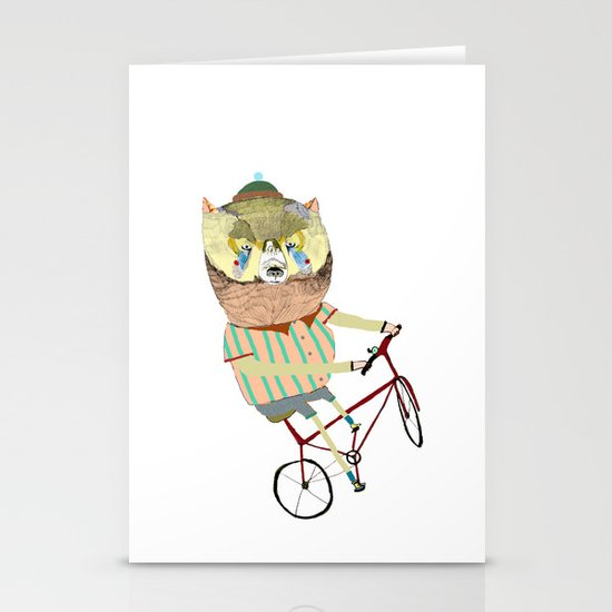 Biking, bike, bikes, biker, bear,  Stationery Cards