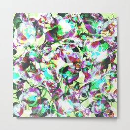 Bright Abstract Tropical Floral Camo Metal Print
