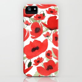 Watercolor Poppies Pattern iPhone Case