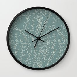 Round Eucalyptus Leaf Toss in Sage Green + Natural Wall Clock