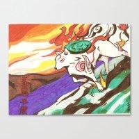 okami Canvas Prints featuring Okami Landscape by Yukie