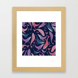 A school of whales - pink and purple Framed Art Print