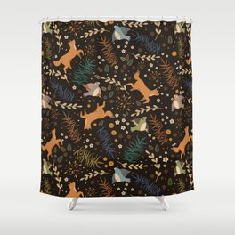 Autumn Woodsy Floral Forest Pattern With Foxes And Birds Shower Curtain