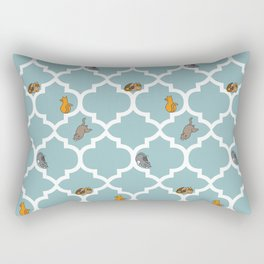 Cats on a Lattice - Blue Rectangular Pillow