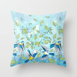 Flying Birds and Oak Leaves Border Throw Pillow