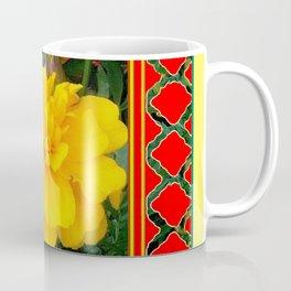 DECORATIVE TEAL-RED & YELLOW  MARIGOLD FLORAL Coffee Mug