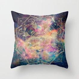 Stylish Gold mandala watercolor & Nebula Colorful Design Throw Pillow