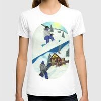 snowboarding T-shirts featuring Snowboarding ; Putting In Your Eight Hours by N_T_STEELART