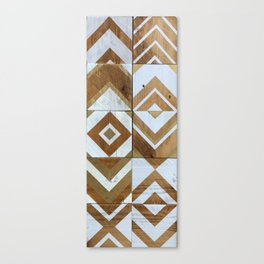 White Chevron Painting on Reclaimed Wood Canvas Print