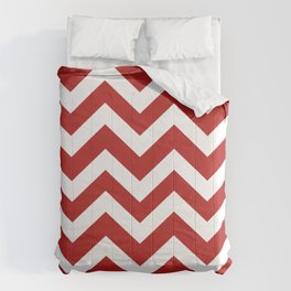 Cornell red - red color - Zigzag Chevron Pattern Comforters