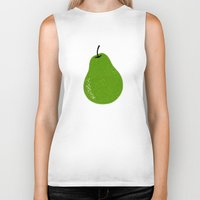 pear Biker Tanks featuring Pear by Roland Lefox