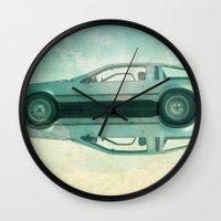 delorean Wall Clocks featuring Siamese  Delorean by Vin Zzep