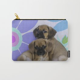 Two Puggle Puppies Cuddling in front of a Background with Hand-painted Daisy Flowers Carry-All Pouch