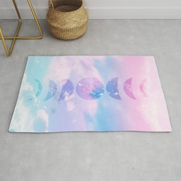Unicorn Pastel Clouds Moon Phases #1 #decor #art #society6 Rug