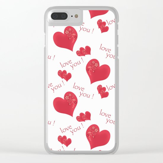Abstract pattern with red hearts on a white background Clear iPhone Case