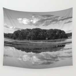 Annisquam river reflections Black and White Wall Tapestry
