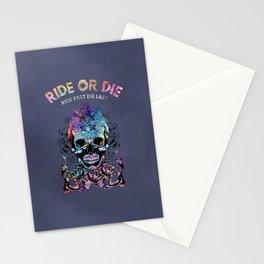 Ride Or Die Colorful Skull Biker Design Stationery Cards