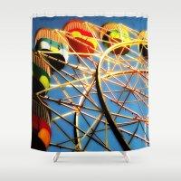 ferris wheel Shower Curtains featuring Ferris Wheel by Sheridan van Aken