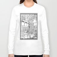 puppies Long Sleeve T-shirts featuring Borzoi puppies by Agy Wilson