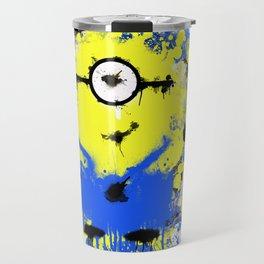 Splatter Painted Minion  Travel Mug
