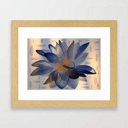 Midnight Blue Polka Dot Floral Abstract Framed Art Print