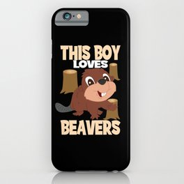 This Boy Loves Beavers I Child Beaver Boy Motif iPhone Case