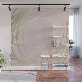 Blush Pink and Gold Circles and Swirls Abstract Pattern Wall Mural