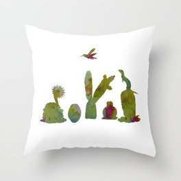 Cacti and ferret art Throw Pillow